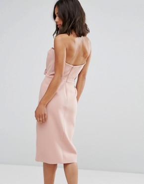photo Exaggerated Bow Detail Bandeau Midi Dress by True Decadence Petite, color Nude - Image 2