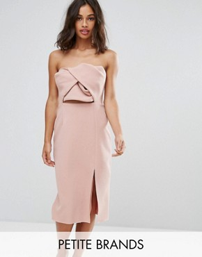 photo Exaggerated Bow Detail Bandeau Midi Dress by True Decadence Petite, color Nude - Image 1