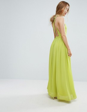 photo Plunge Front Maxi Dress by True Decadence Petite, color Lime - Image 2