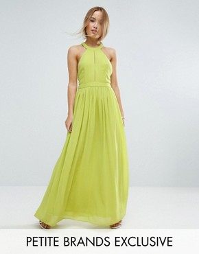 photo Plunge Front Maxi Dress by True Decadence Petite, color Lime - Image 1