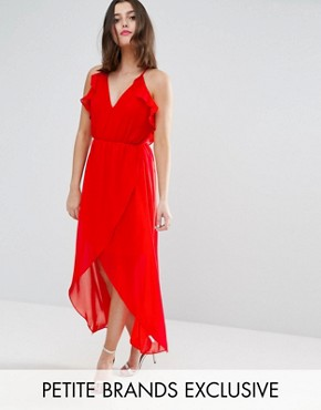 photo Frill Detail High Low Midi Dress with Strappy Back by True Decadence Petite, color Red - Image 1