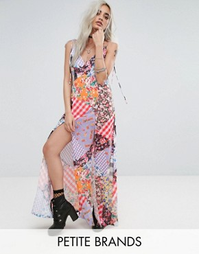 photo Mix Print Maxi with Bow Tie Shoulder Detail by Jaded London Petite, color Multi - Image 1