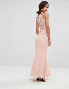photo All Over Lace Top Fishtail Maxi Dress by Little Mistress Petite, color Nude - Image 2
