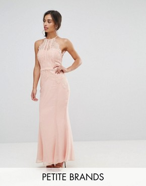 photo All Over Lace Top Fishtail Maxi Dress by Little Mistress Petite, color Nude - Image 1