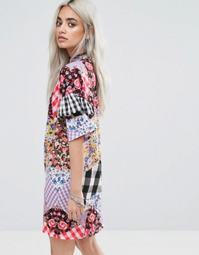 photo Oversized Mix and Match Print Tshirt Dress by Jaded London Petite, color Multi - Image 2
