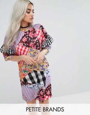 photo Oversized Mix and Match Print Tshirt Dress by Jaded London Petite, color Multi - Image 1