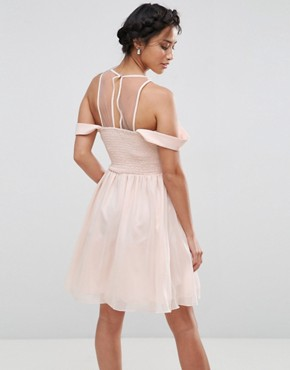photo Cold Shoulder Pleated Bust Mini Dress with Lace Applique Neck Detail by Little Mistress Petite, color Nude - Image 2
