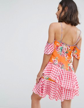 photo Mix Print Layered Mini Dress by Jaded London Petite, color Multi - Image 2