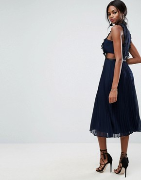 photo Lace Pinafore Pleated Midi Dress by ASOS, color Navy - Image 2