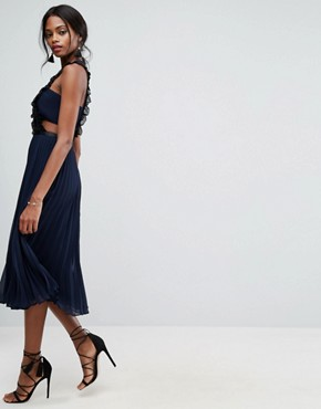 photo Lace Pinafore Pleated Midi Dress by ASOS, color Navy - Image 4