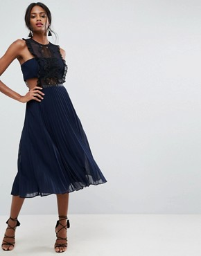 photo Lace Pinafore Pleated Midi Dress by ASOS, color Navy - Image 1