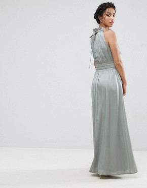 photo Ruched Pleated Maxi Prom Dress by Little Mistress Petite, color Waterlily - Image 2