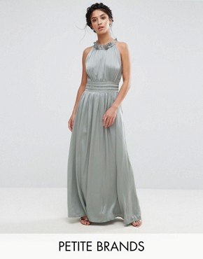 photo Ruched Pleated Maxi Prom Dress by Little Mistress Petite, color Waterlily - Image 1