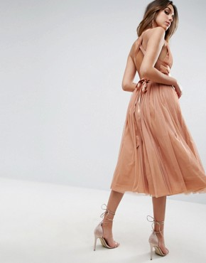 photo Tulle Midi Prom Dress with Ribbon Ties by ASOS PREMIUM, color Peach - Image 2