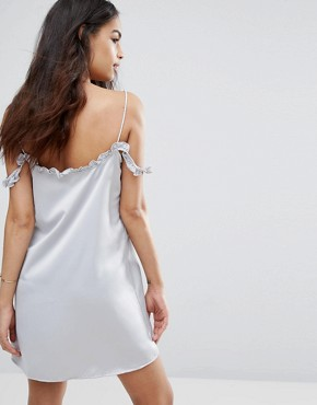 photo Cami Dress with Off The Shoulder Ruffle by Motel, color Silver - Image 2