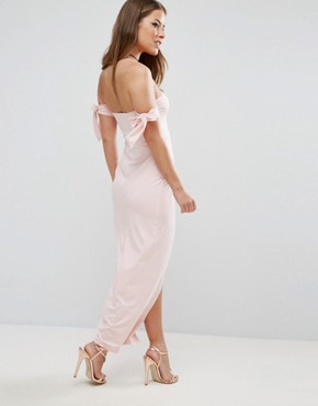 photo Bow Off The Shoulder Maxi Dress with Wrap Front by ASOS PETITE, color Nude - Image 2