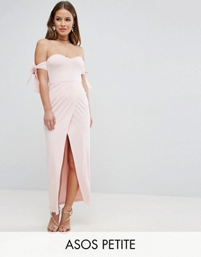 photo Bow Off The Shoulder Maxi Dress with Wrap Front by ASOS PETITE, color Nude - Image 1