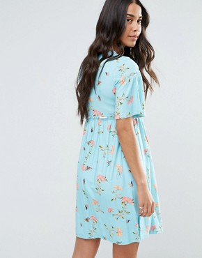 photo Floral Trumpet Sleeve Dress by ASOS Maternity, color Mint - Image 2