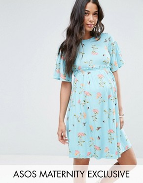 photo Floral Trumpet Sleeve Dress by ASOS Maternity, color Mint - Image 1