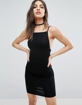 photo Strappy Mini Bodycon Bow Back Dress by ASOS, color Black - Image 2