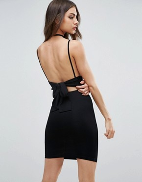 photo Strappy Mini Bodycon Bow Back Dress by ASOS, color Black - Image 1