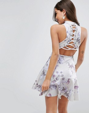 photo Scuba Floral Lace Up Back Skater Mini Dress by ASOS, color Multi - Image 1