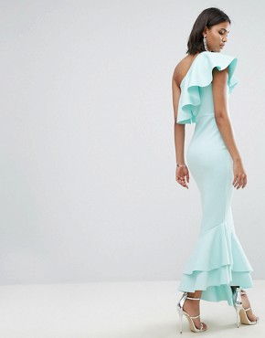 photo One Shoulder Ruffle Top Asymmetric Hem Maxi Dress by ASOS, color Baby Blue - Image 2