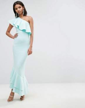 photo One Shoulder Ruffle Top Asymmetric Hem Maxi Dress by ASOS, color Baby Blue - Image 1