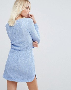 photo Lace Twist Front Mini Dress by PrettyLittleThing, color Powder Blue - Image 2