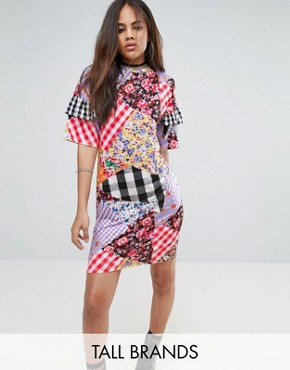 photo Oversized Tshirt Dress with Ruffle Sleeve Detail in Mix Print by Jaded London Tall, color Multi - Image 1