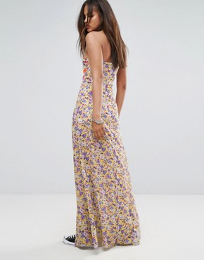 photo Bandeau Mix Print Maxi Dress with Bow Detail by Jaded London Tall, color Multi - Image 2