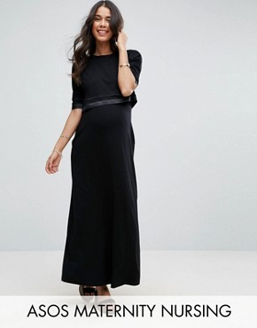 photo Double Layer Maxi Dress by ASOS Maternity NURSING, color Black - Image 1