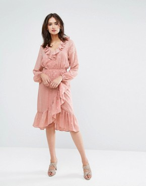 photo Spot Ruffle Wrap Dress by Y.A.S Tall, color Rose - Image 4