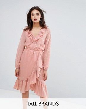 photo Spot Ruffle Wrap Dress by Y.A.S Tall, color Rose - Image 1