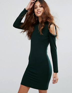 photo Ripsi Cold Shoulder Frill Dress by Only, color Balsam Green - Image 1