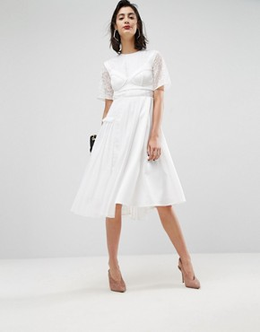 photo Satin Pleat Detail Dress with Detachable Bralet by ASOS PREMIUM, color White - Image 1