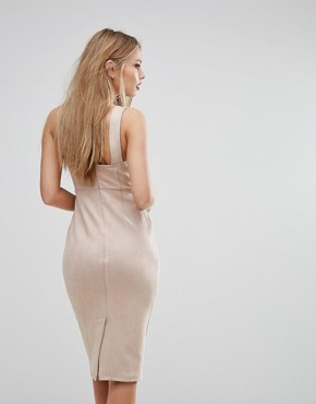 photo Structured Pencil Dress with Bust Cup Detail by NaaNaa, color Tan - Image 2