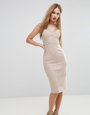 photo Structured Pencil Dress with Bust Cup Detail by NaaNaa, color Tan - Image 1