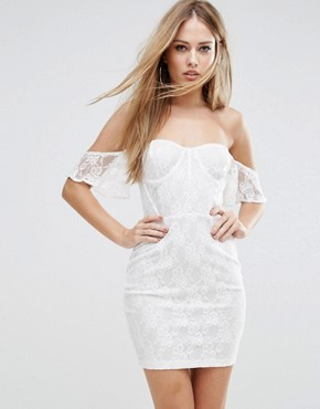 photo Off Shoulder Lace Bodycon Dress with Corset Detail by NaaNaa, color White - Image 1