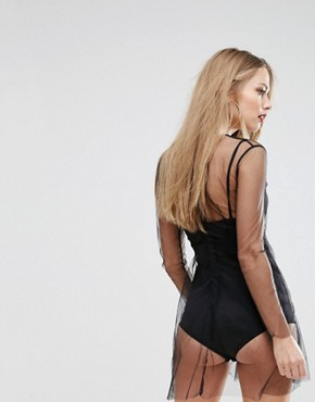 photo Sheer Mesh Skater Dress with Bodysuit Underlay by NaaNaa, color Black - Image 2