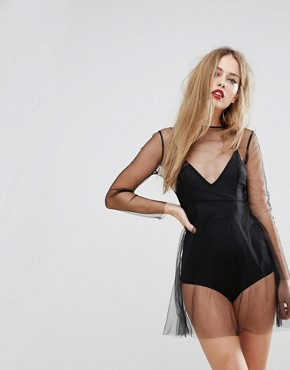 photo Sheer Mesh Skater Dress with Bodysuit Underlay by NaaNaa, color Black - Image 1
