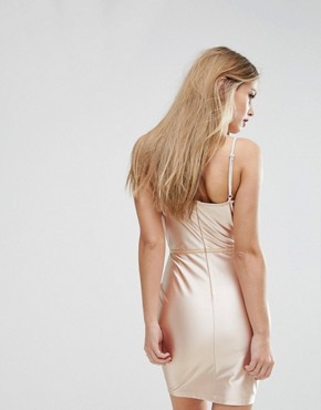 photo High Shine Bodycon Dress with Panelled Corset Detail by NaaNaa, color Gold - Image 2