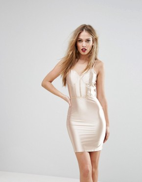 photo High Shine Bodycon Dress with Panelled Corset Detail by NaaNaa, color Gold - Image 1