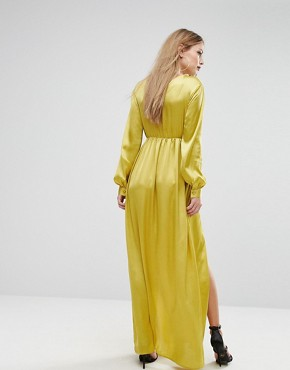 photo Plunge Satin Maxi Dress with Thigh Split by NaaNaa, color Chartreuse - Image 2