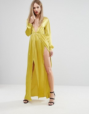 photo Plunge Satin Maxi Dress with Thigh Split by NaaNaa, color Chartreuse - Image 1