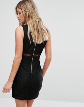 photo High Neck Lace Bodycon Dress by NaaNaa, color Black - Image 2