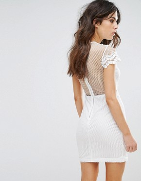 photo Bodycon Dress in Mesh Lace Contrast by NaaNaa, color White - Image 2
