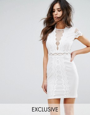 photo Bodycon Dress in Mesh Lace Contrast by NaaNaa, color White - Image 1