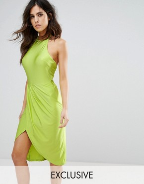 photo Wrap front Midi Dress with Gathers by NaaNaa, color Lime - Image 1
