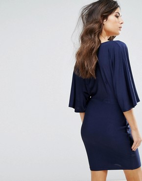 photo Plunge Front Mini Dress with Kimono Sleeve by NaaNaa, color Navy - Image 2